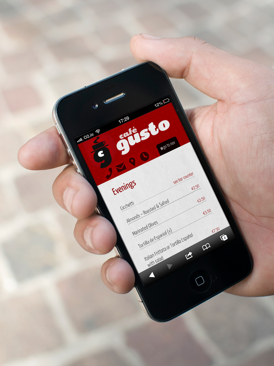 Cafe Gusto mobile optimised web site