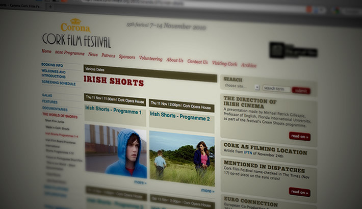 Website for Corona Cork Film Festival