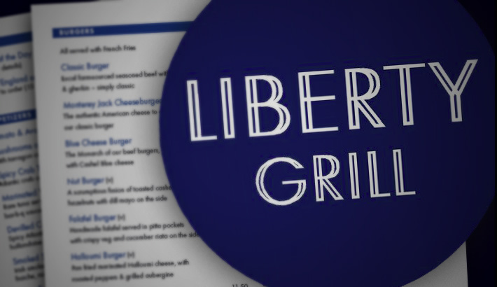 Logo design. Identity and menus for Liberty Grill